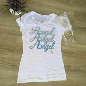 Sale! Halloween angel wings tee shirt  halo medium